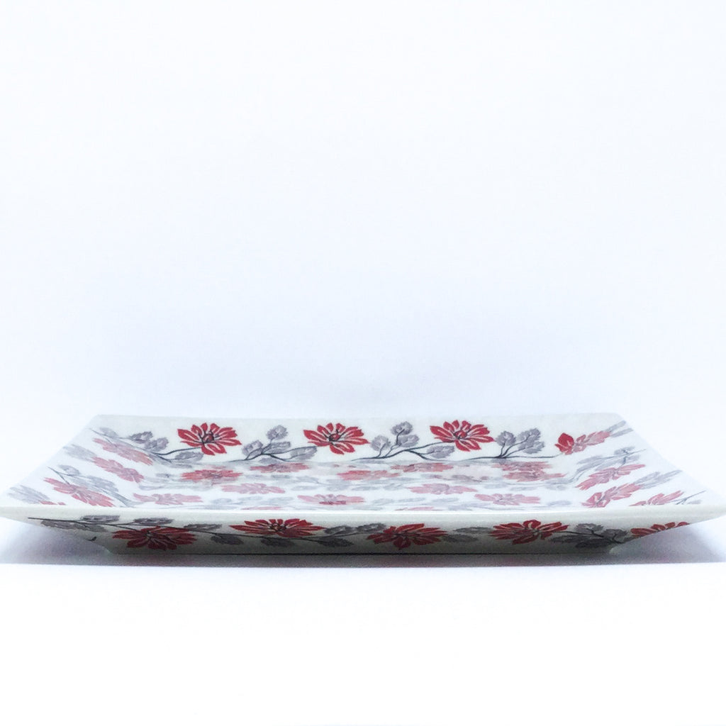 Square Platter in Red & Gray