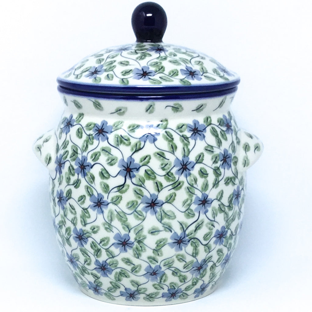 Lg Canister w/Handles in Blue Clematis