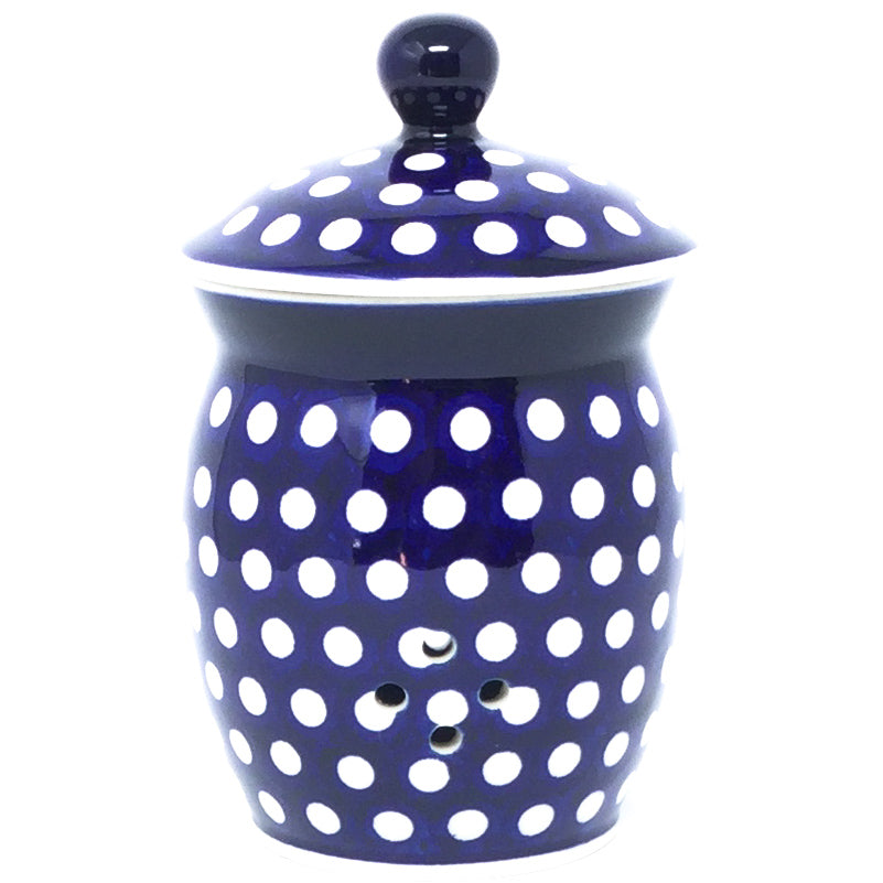 Garlic Keeper 1 qt in White Polka-Dot