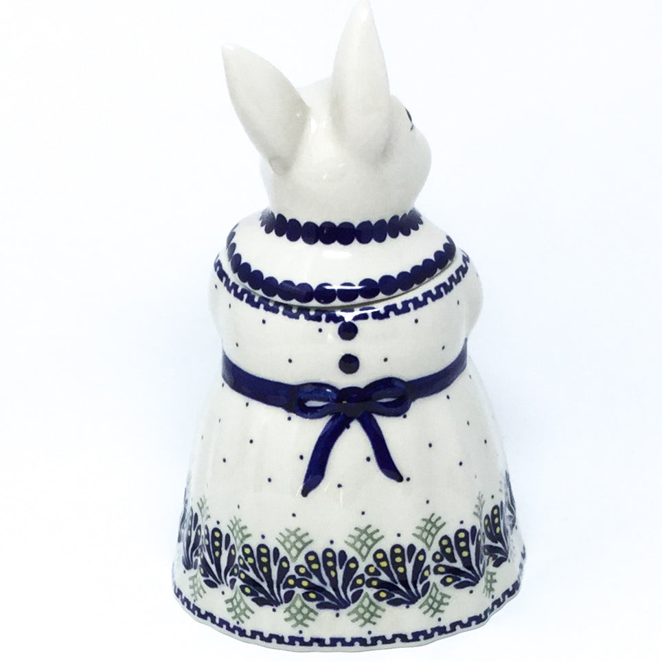 Rabbit Cookie Jar in Peacock Feathers