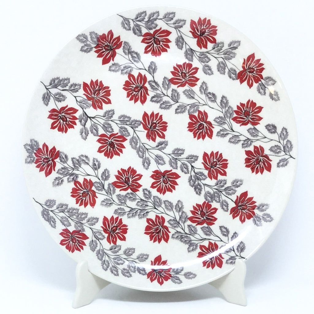 "Round Platter 12.5"" in Red & Gray"