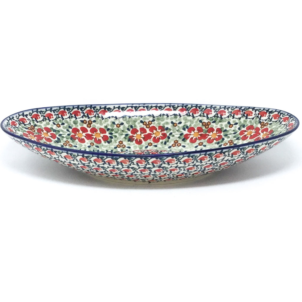 Lg Modern Oval Server in Red Poppies
