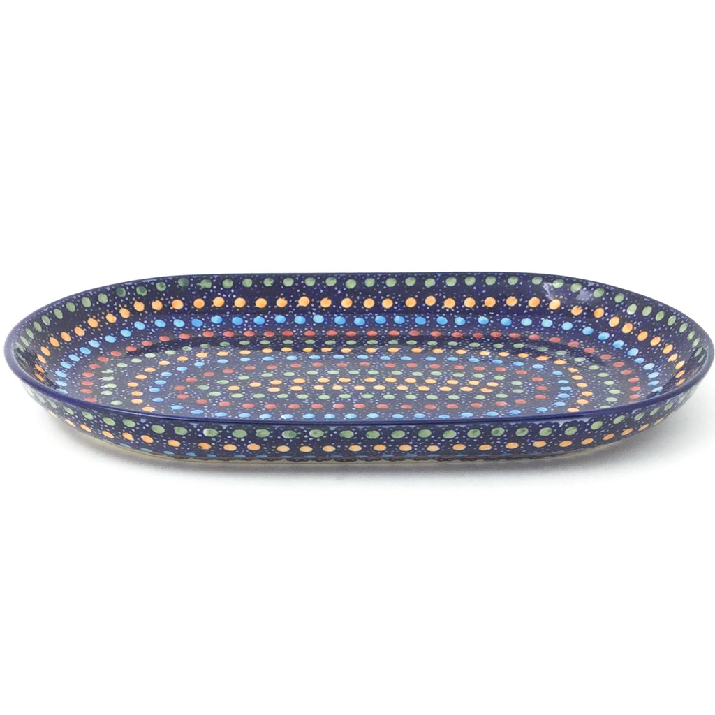 Tiny Oval Platter in Multi-Colored Dots