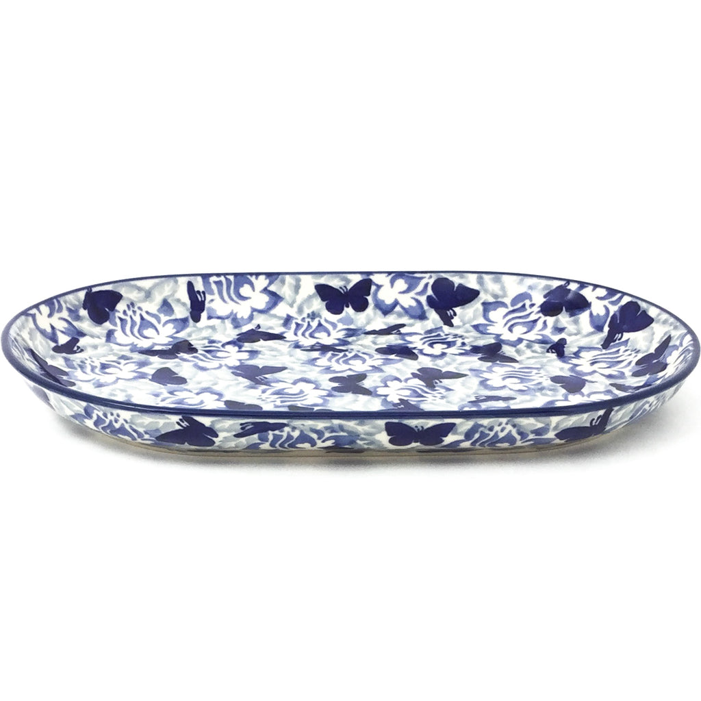 Tiny Oval Platter in Blue Butterfly