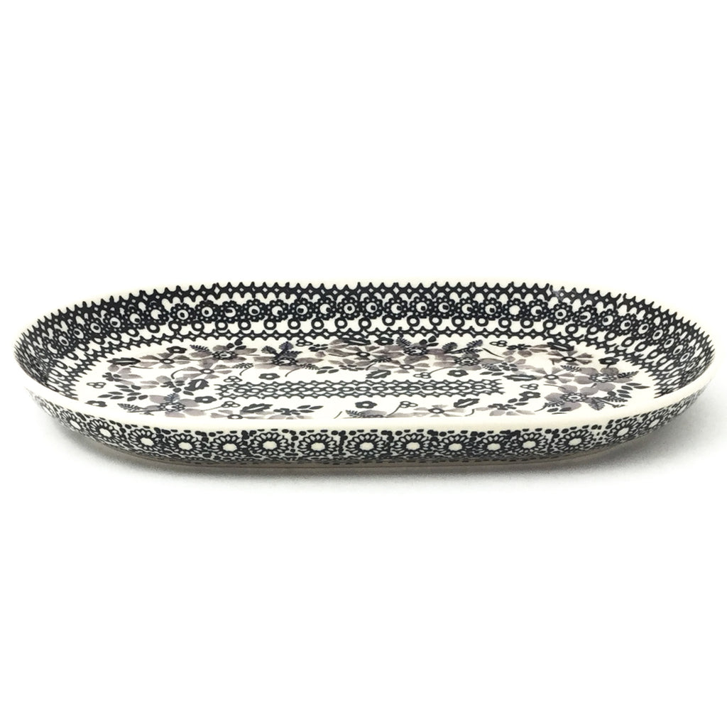 Tiny Oval Platter in Gray & Black