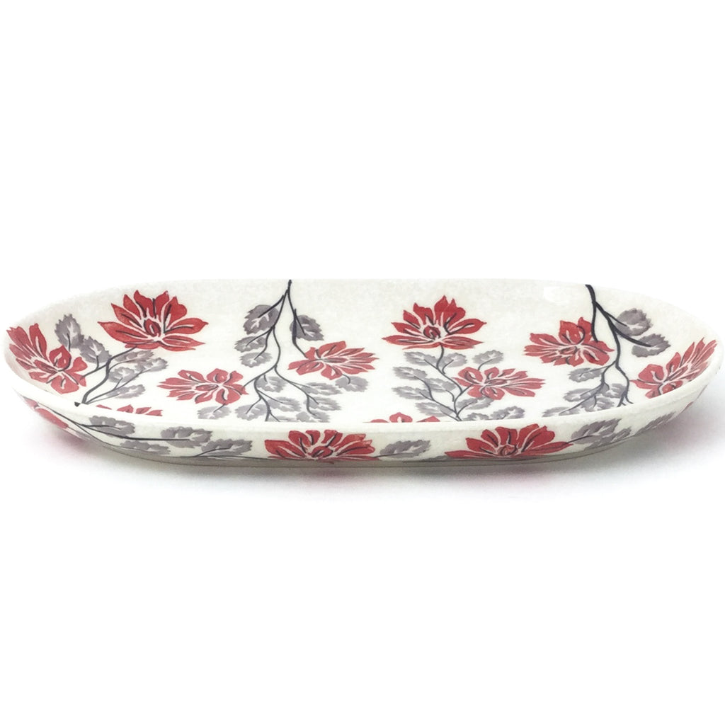 Tiny Oval Platter in Red & Gray