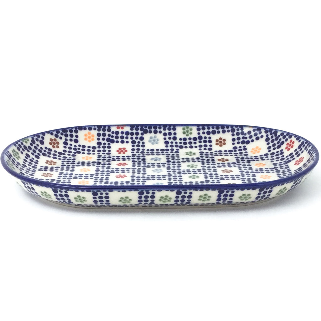 Tiny Oval Platter in Modern Checkers