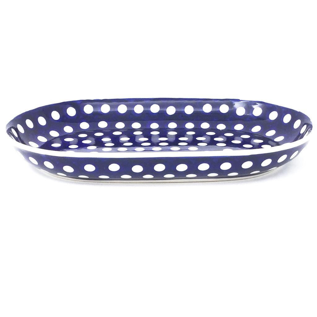 Sm Oval Platter in White Polka-Dot