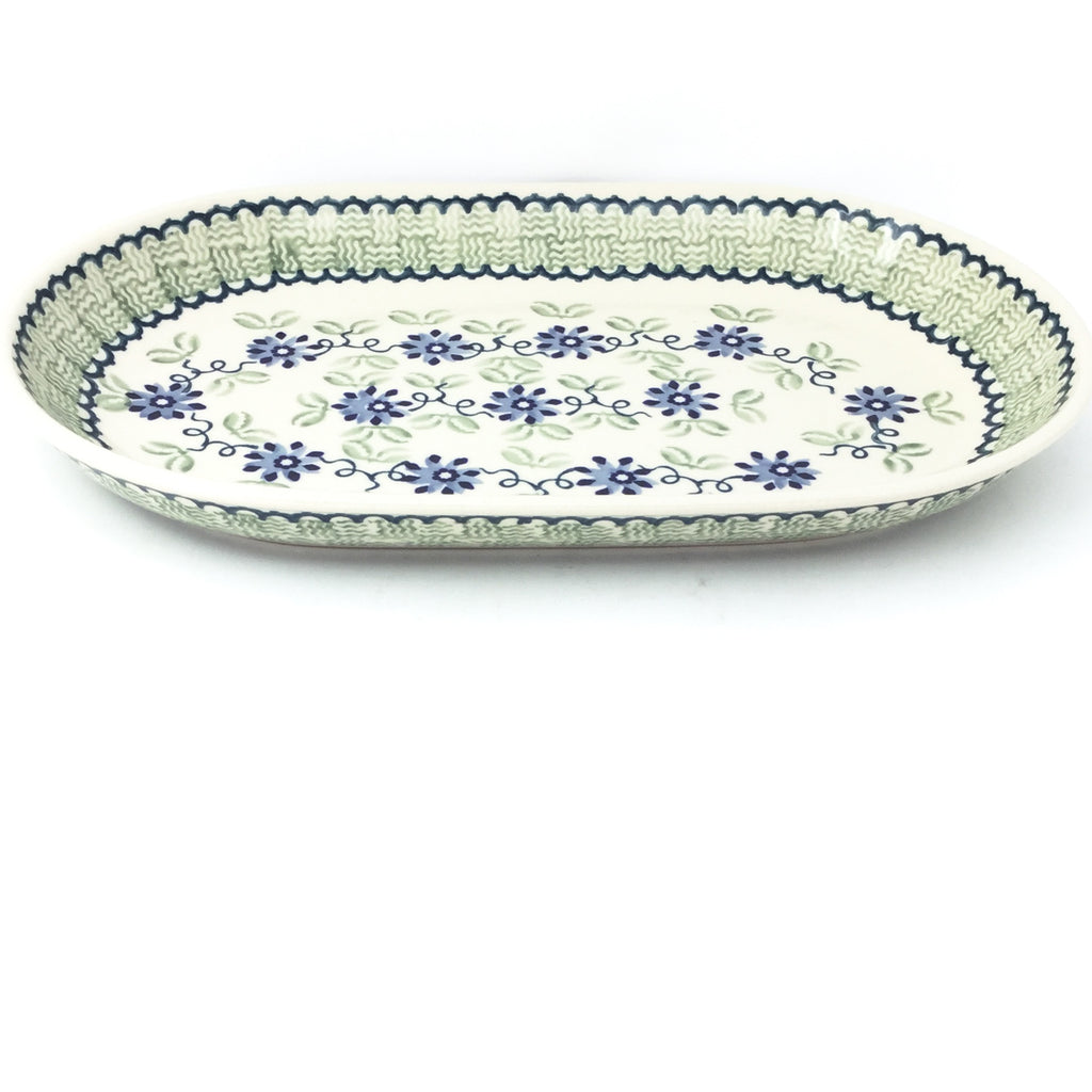 Md Oval Platter in Blue & Green Flowers