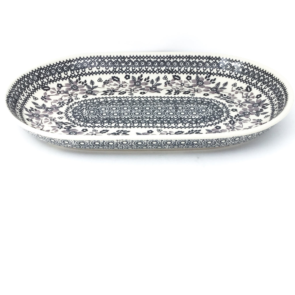 Md Oval Platter in Gray & Black