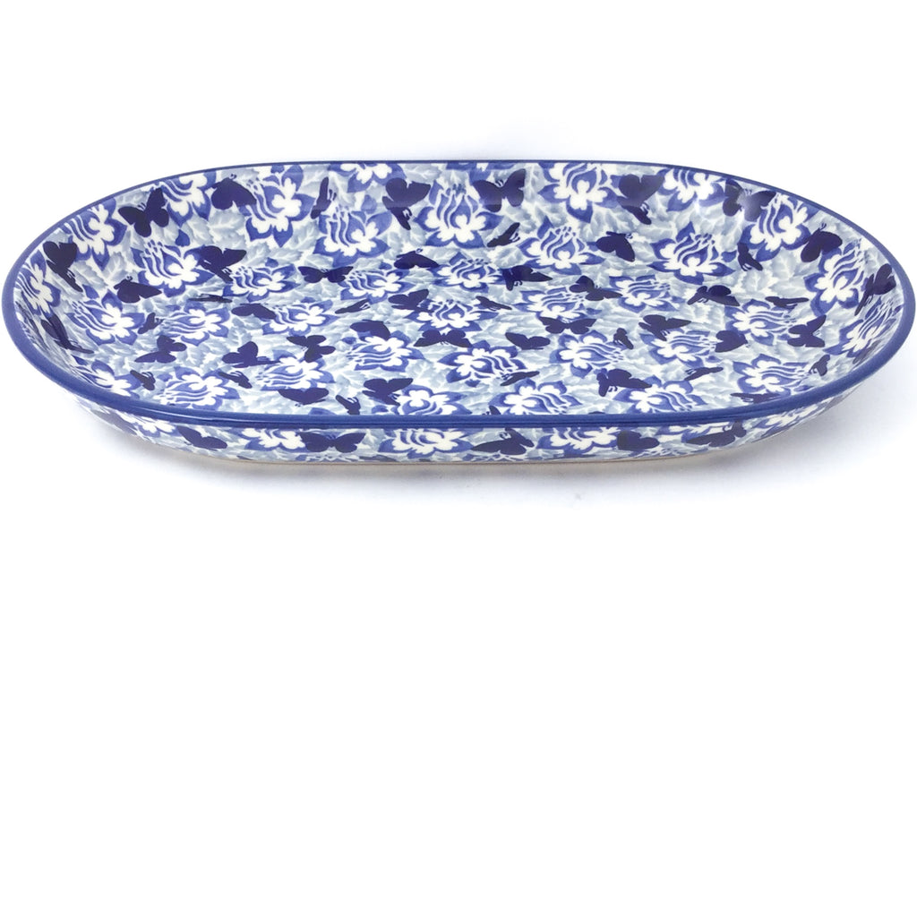 Md Oval Platter in Blue Butterfly
