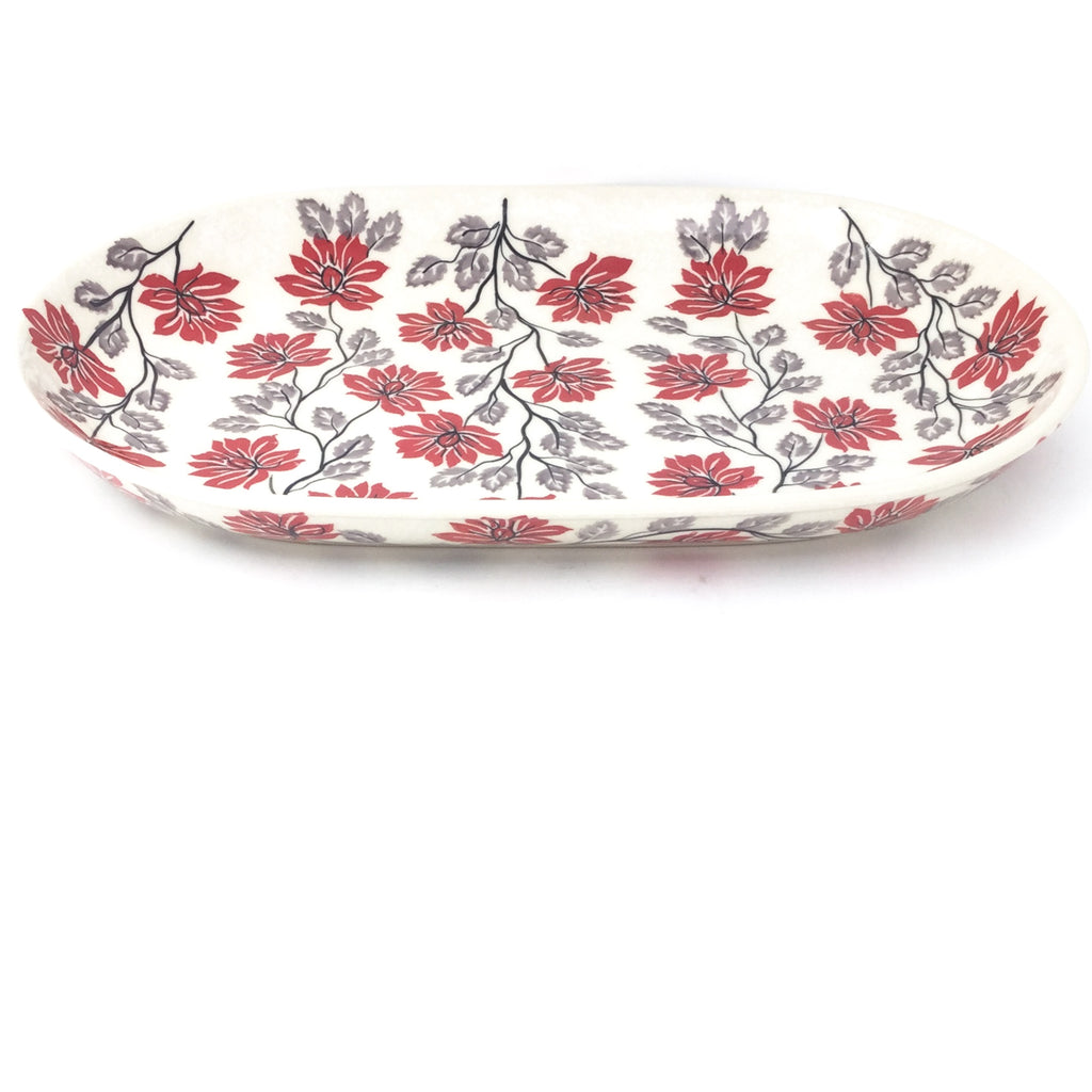 Md Oval Platter in Red & Gray