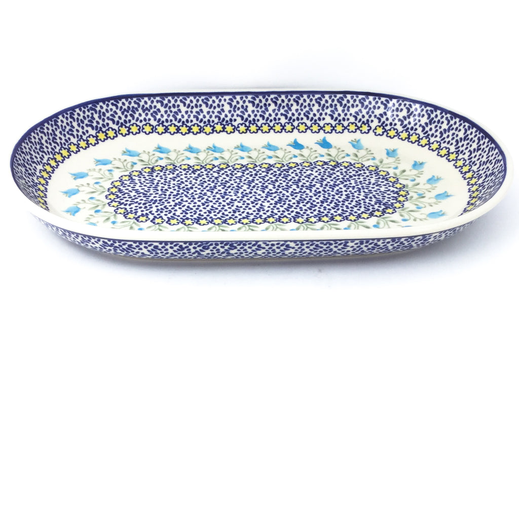 Md Oval Platter in Blue Tulips