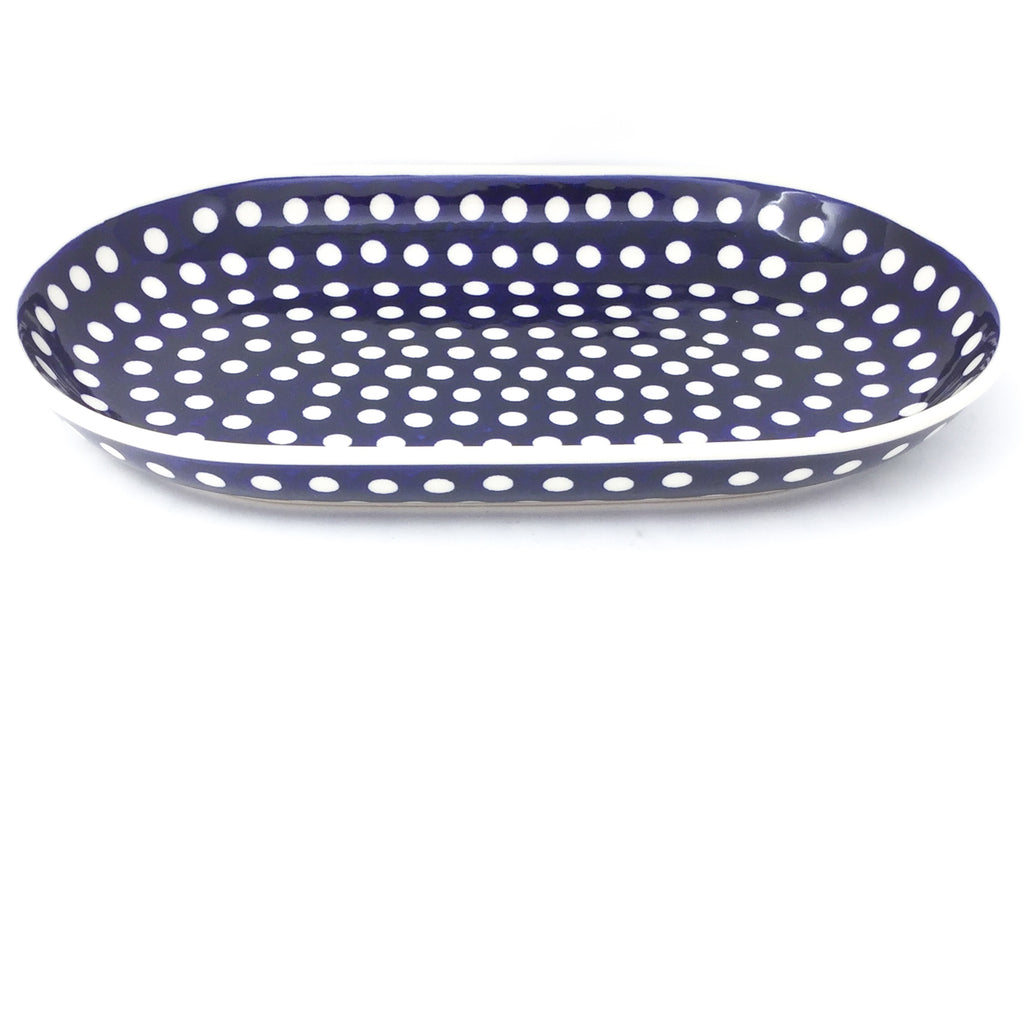 Md Oval Platter in White Polka-Dot