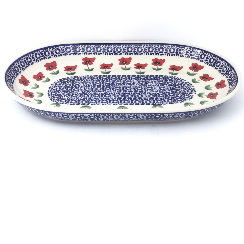 Md Oval Platter in Red Daisy