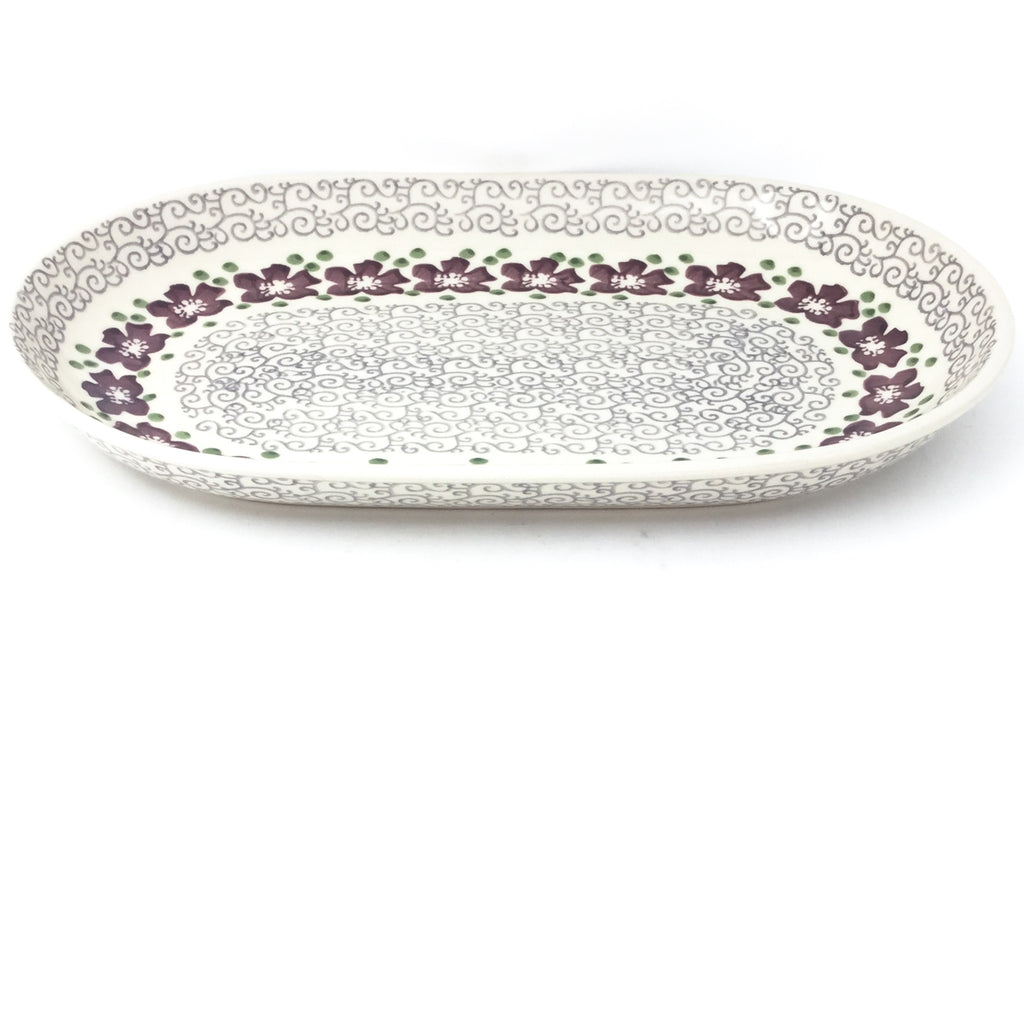 Md Oval Platter in Purple & Gray Flowers