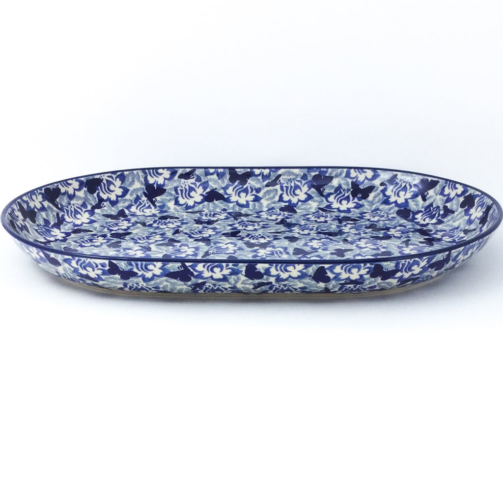 Lg Oval Platter in Blue Butterfly