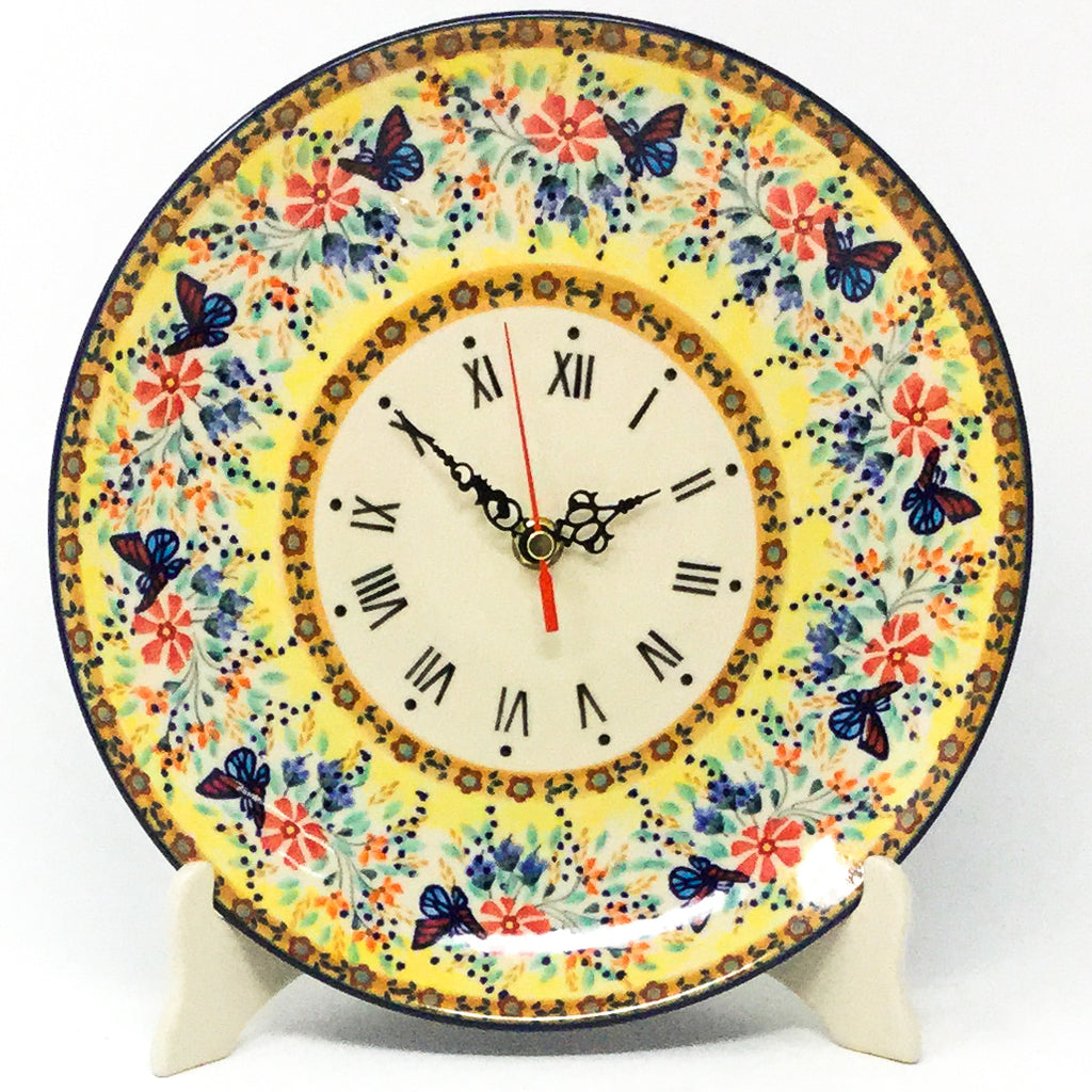 Plate Wall Clock in Butterfly Meadow