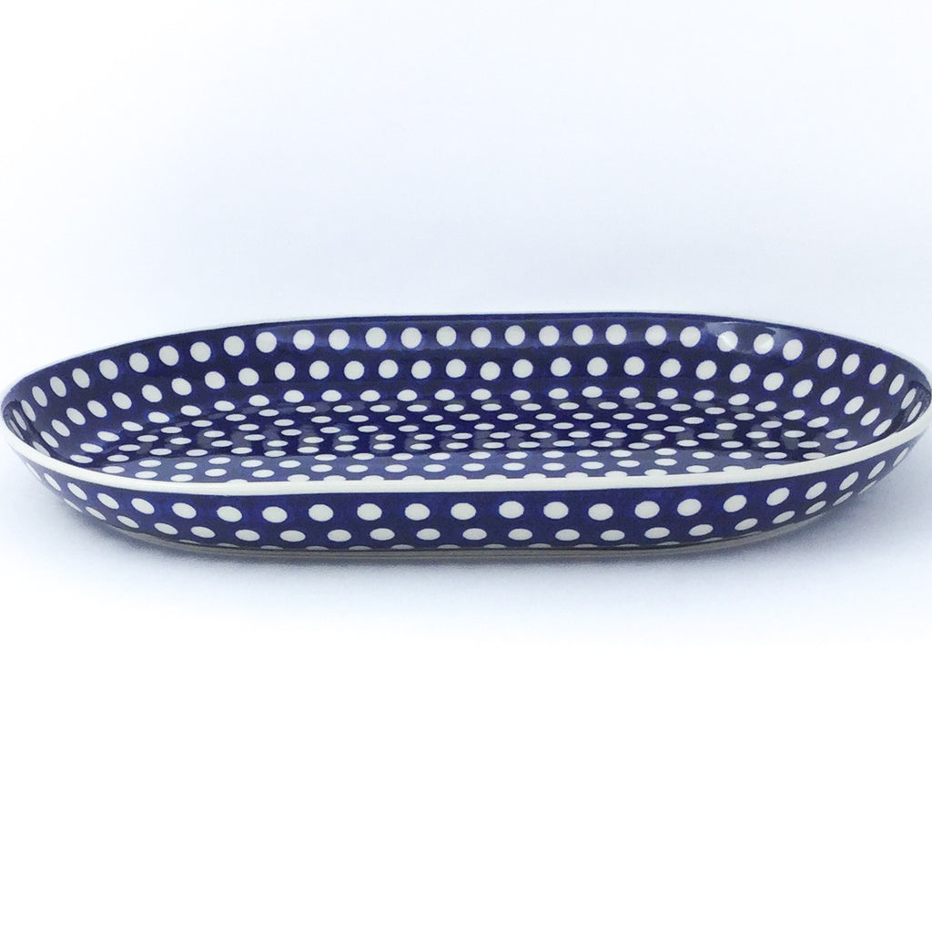 Lg Oval Platter in White Polka-Dot
