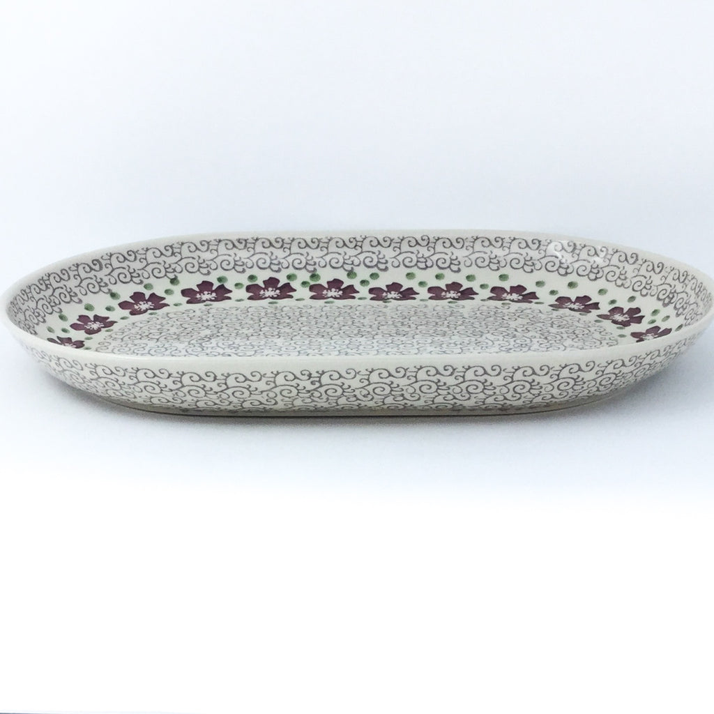 Lg Oval Platter in Purple & Gray Flowers