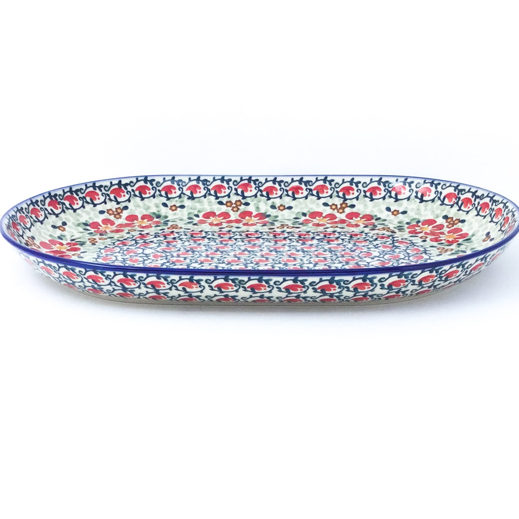Lg Oval Platter in Red Poppies