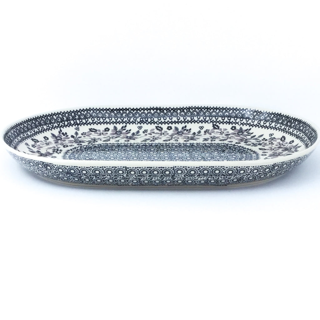 Lg Oval Platter in Gray & Black