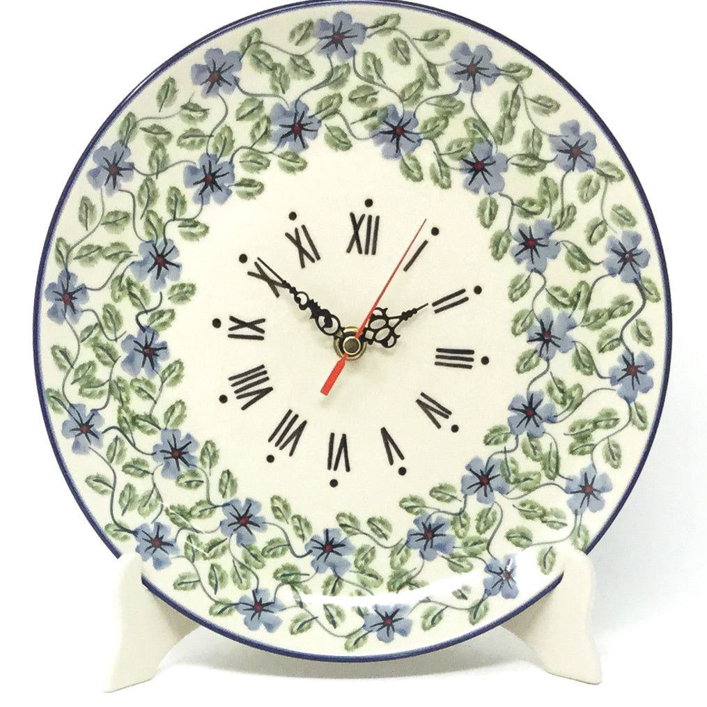 Plate Wall Clock in Blue Clematis