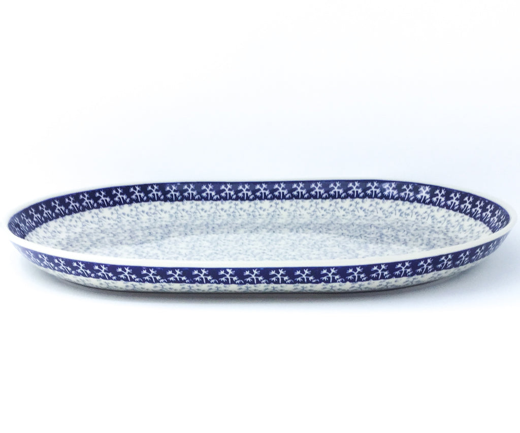 Ex Lg Oval Platter in Light & Dark Snowflake