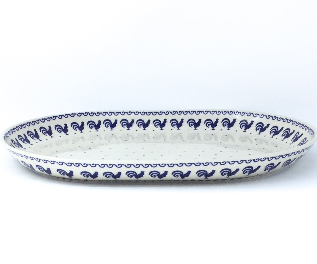 Ex Lg Oval Platter in Blue Roosters