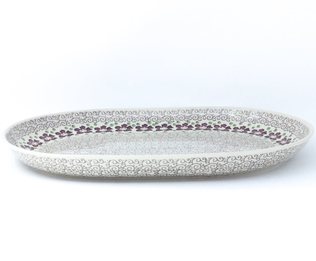 Ex Lg Oval Platter in Purple & Gray Flowers