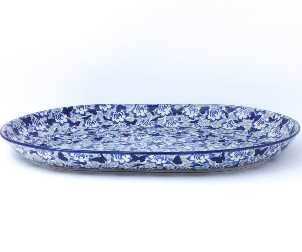Ex Lg Oval Platter in Blue Butterfly
