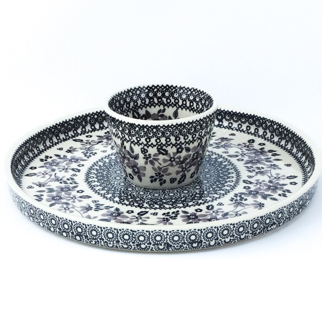 Party Platter w/Bowl in Gray & Black