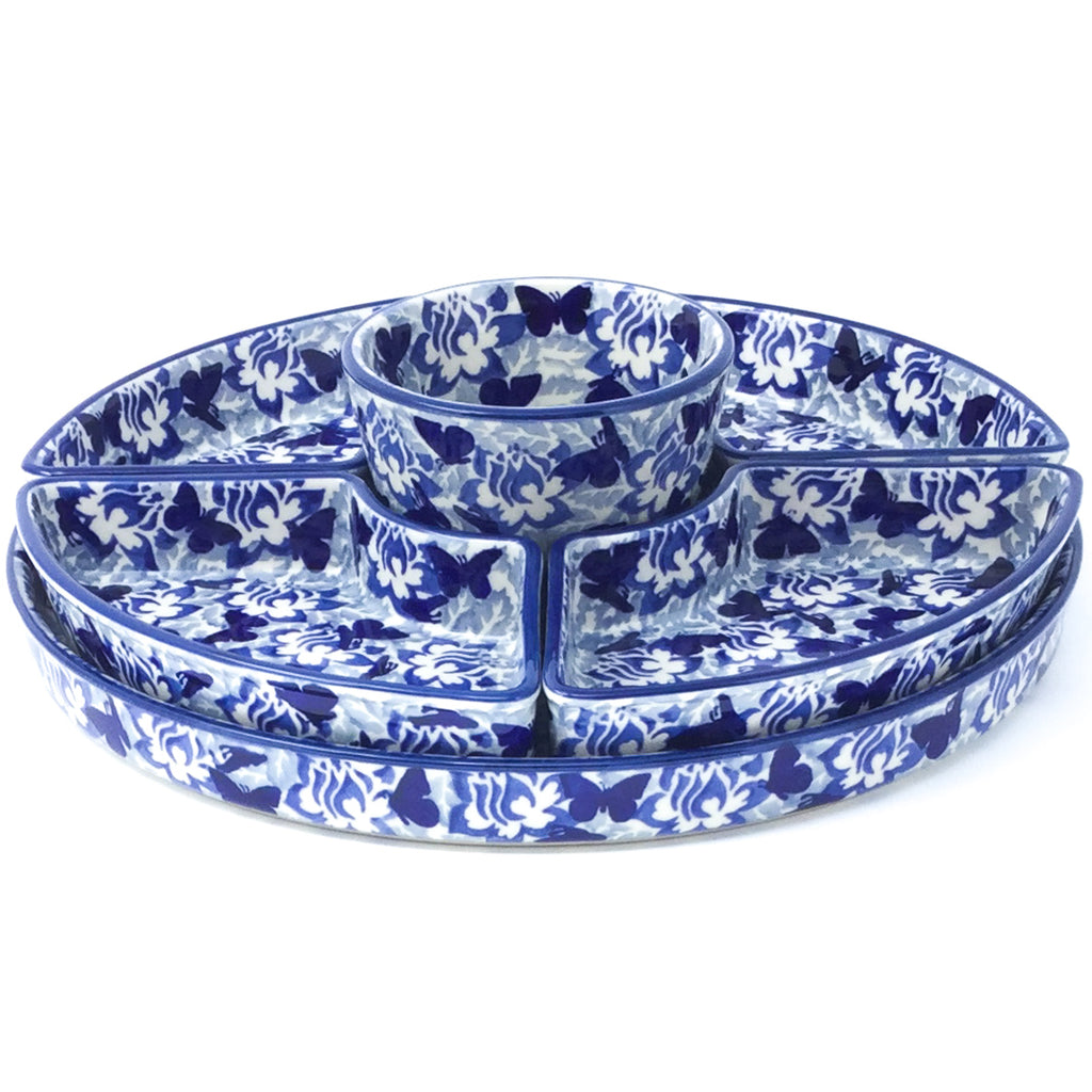 Party Platter w/Bowl in Blue Butterfly