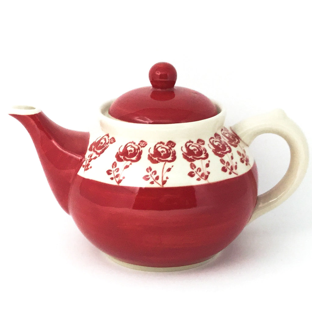 Afternoon Teapot 1.5 qt in Red Rose