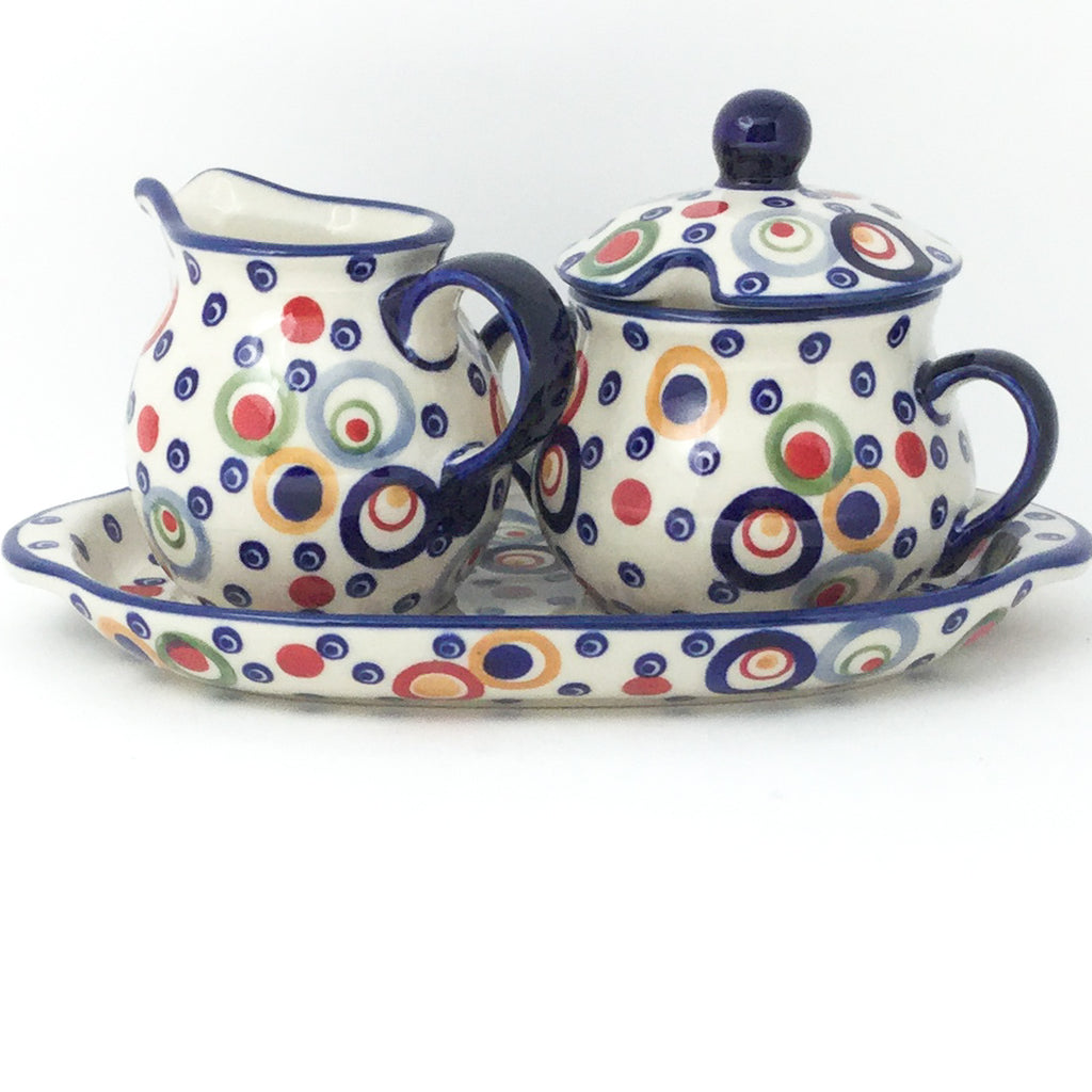 Creamer & Sugar Set w/Tray in Modern Circles