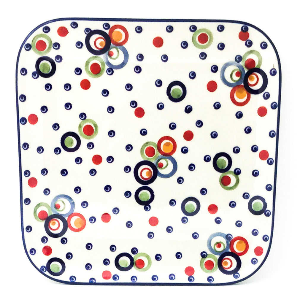 "Square Sushi Plate 8.5"" in Modern Circles"