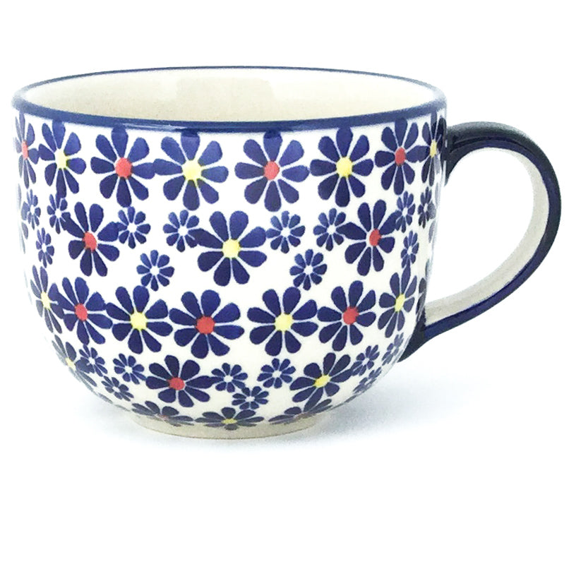 Latte Cup 16 oz in Flowers on White