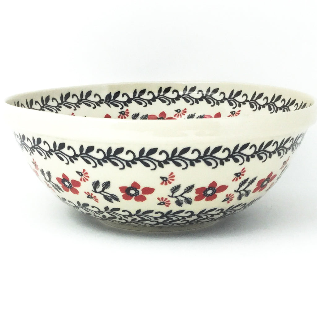 Round Bowl 64 oz in Red & Black