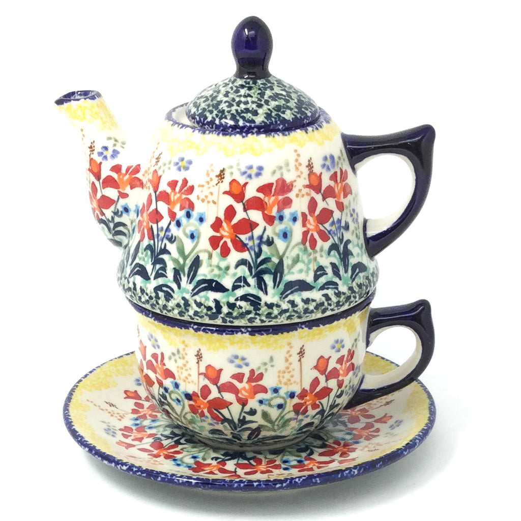 Teapot w/Cup & Saucer in Country Summer