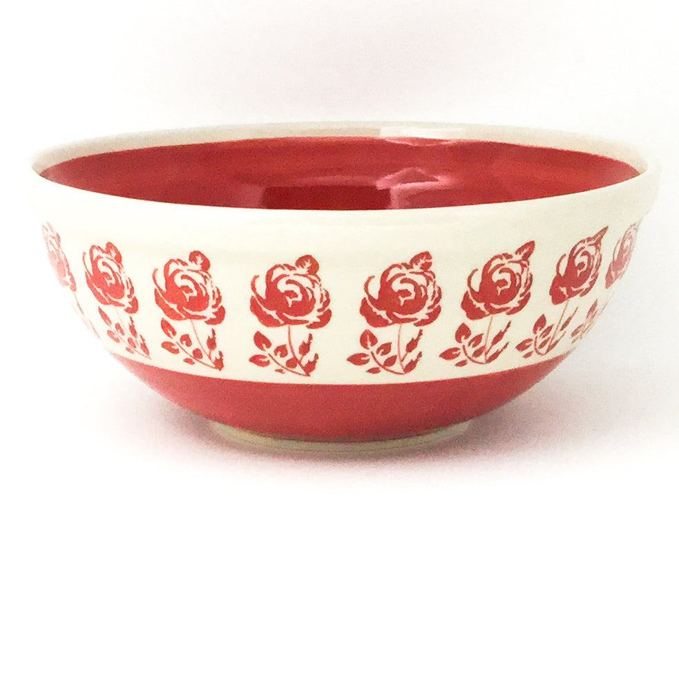 Round Bowl 32 oz in Red Rose