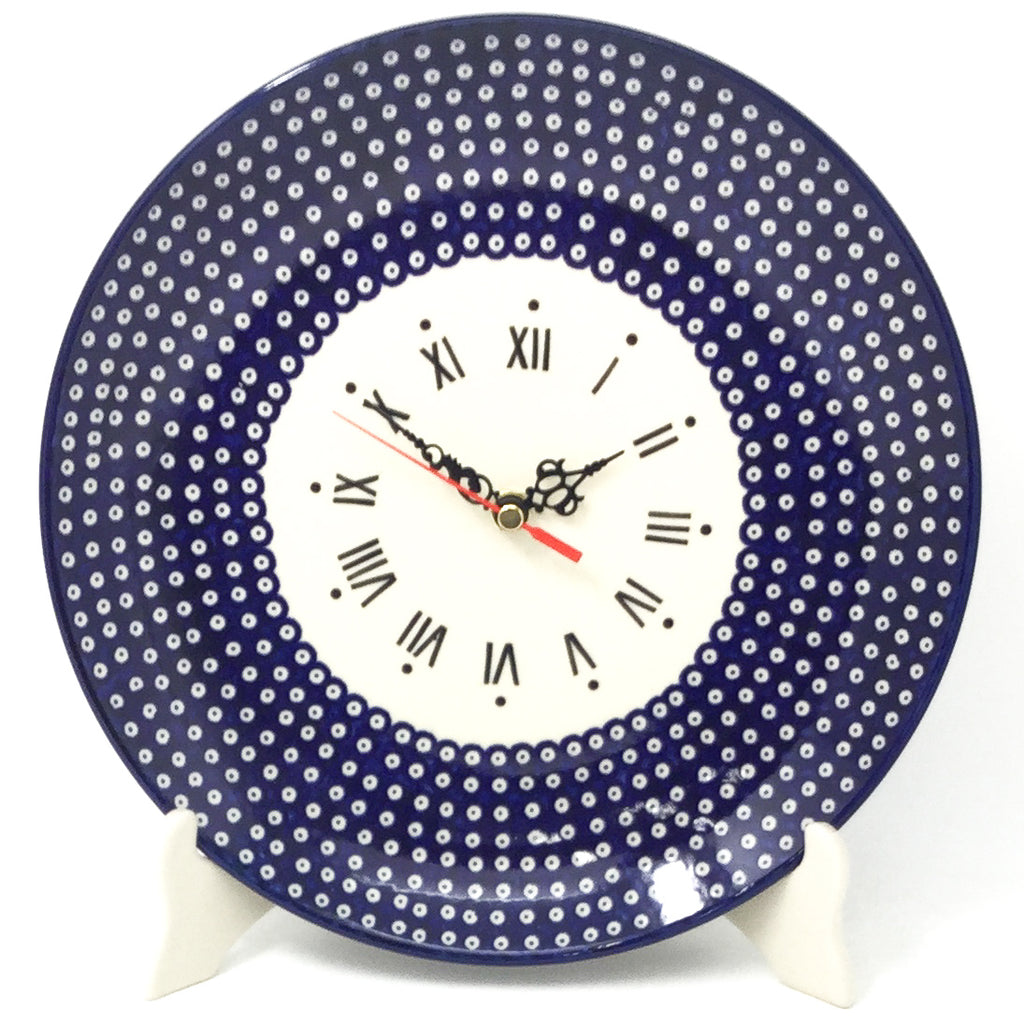 Plate Wall Clock in Blue Elegance