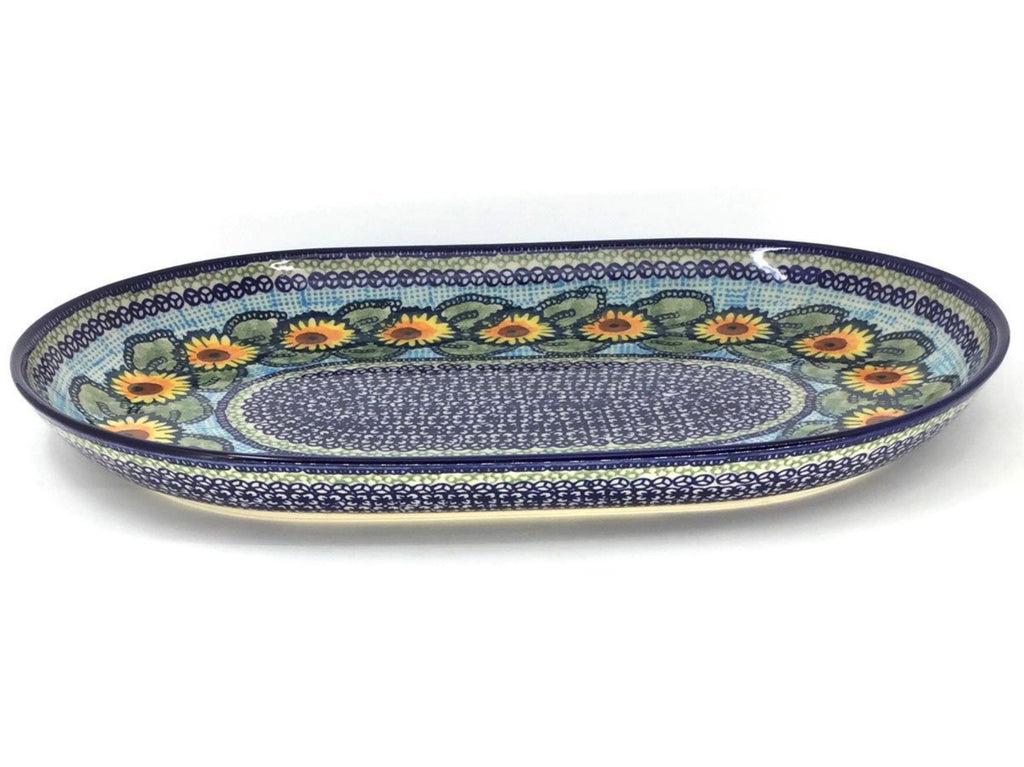 Polish Pottery Lg Oval Platter in Sunflowers Sunflowers