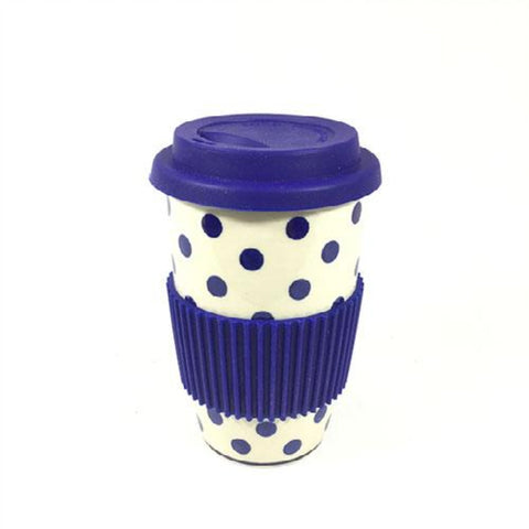 Polish Pottery Travel Cup 14 oz (K-115) Blue Polka-Dot