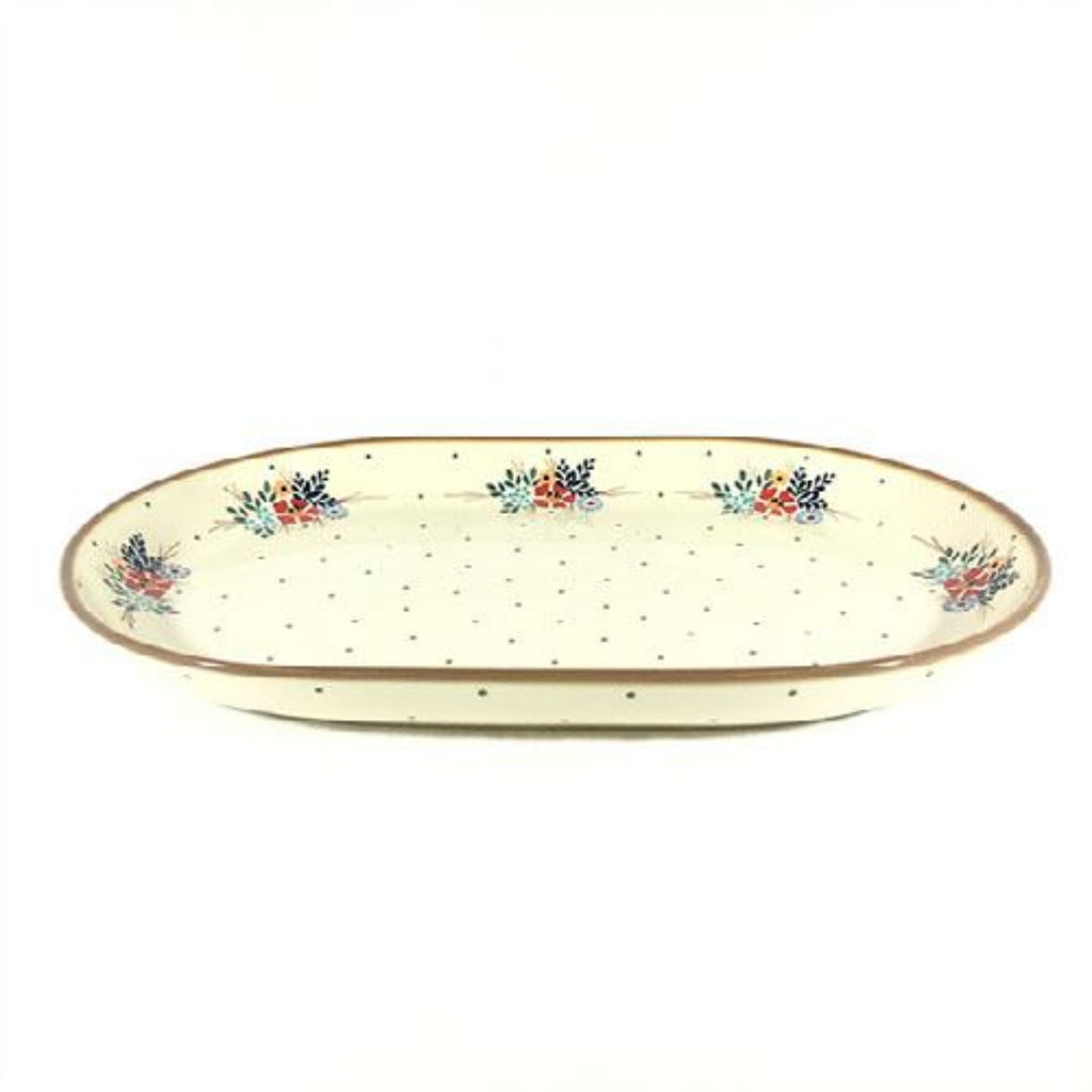 Polish Pottery Ex Lg Oval Platter in Brown Edge Brown Edge