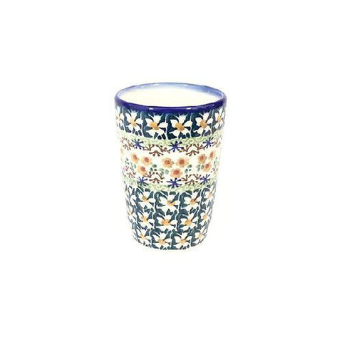 Polish Pottery Signature Toothbrush Holder/Cup (P-075) White Daisy
