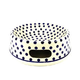 Polish Pottery Lg Dog Bowl (M-110) Blue Polka-Dot