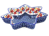"Polish Pottery Star Server 12"" (P-053) Wild Flowers"