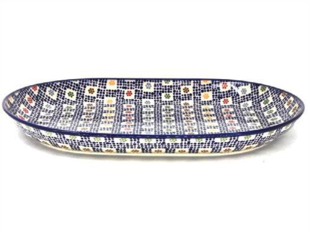 Polish Pottery Lg Oval Platter in Modern Checkers Modern Checkers