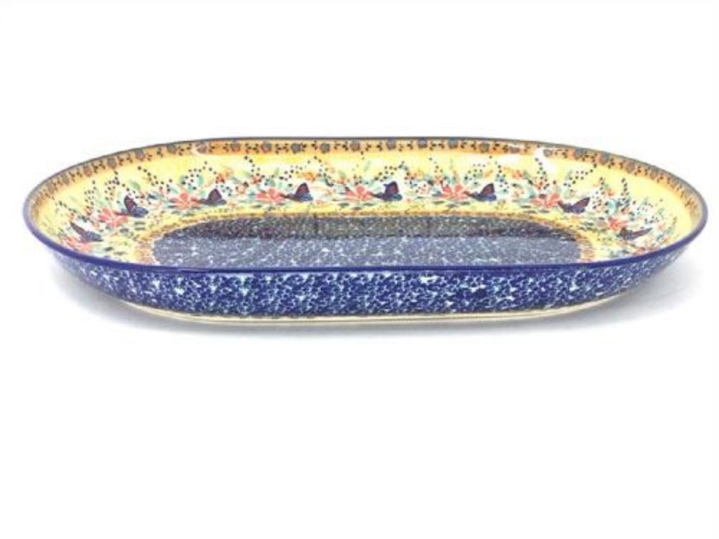 Polish Pottery Lg Oval Platter in Butterfly Meadow Butterfly Meadow