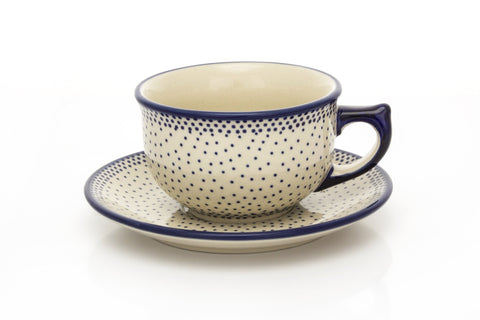 Polish Pottery Tea Cup w/ Saucer  8 oz
